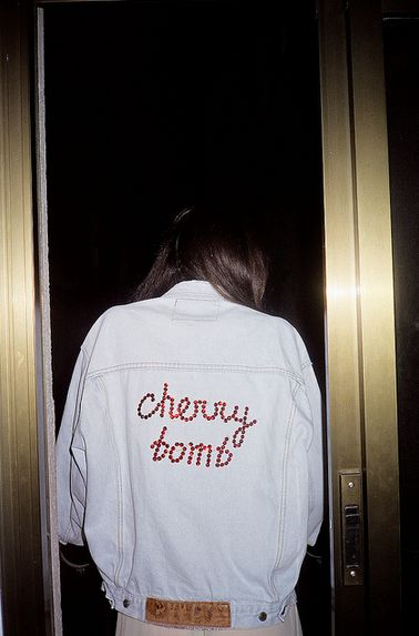 cherry bomb denim jacket