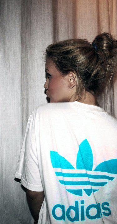 adidas white blue tee